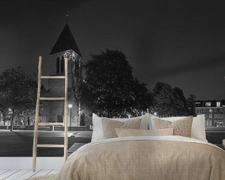 Sfeerimpressie behang: Panorama Dorpskerk Spijkenisse zwart/wit van Anton de Zeeuw