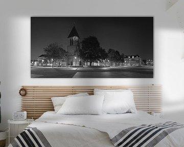 Panorama Village Kirche Spijkenisse schwarz / weiß von Anton de Zeeuw