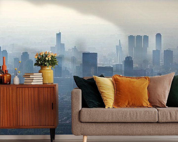 Sfeerimpressie behang: Luchtfoto panorama mistig Rotterdam van Anton de Zeeuw