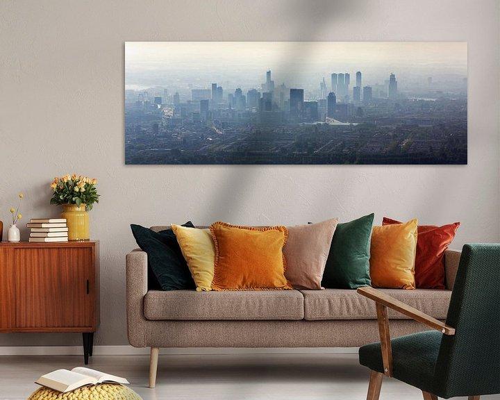 Sfeerimpressie: Luchtfoto panorama mistig Rotterdam van Anton de Zeeuw