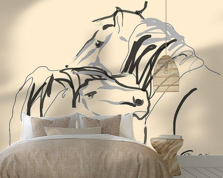 Sfeerimpressie behang: Paarden Together 4 van Go van Kampen