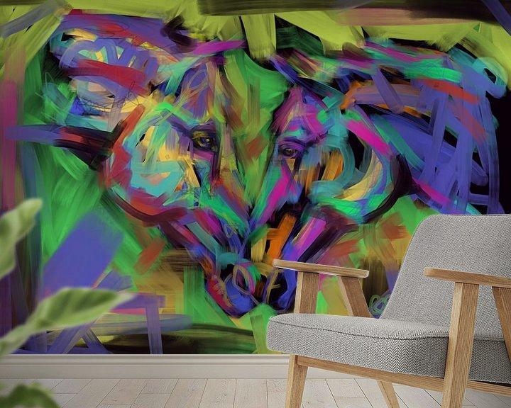 Sfeerimpressie behang: Paarden Together in Color van Go van Kampen