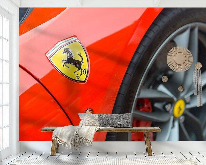 Sfeerimpressie behang: Ferrari 488 GTB embleem van Sjoerd van der Wal