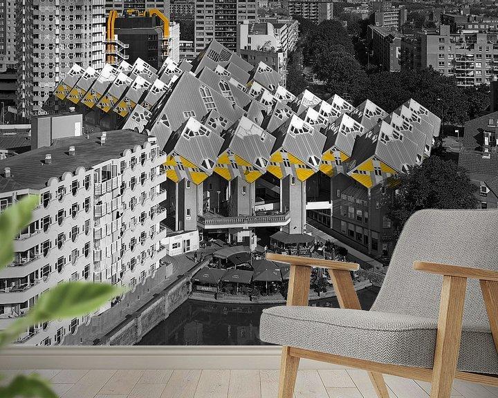 Sfeerimpressie behang: Kubuswoningen Rotterdam zwart / wit van Anton de Zeeuw