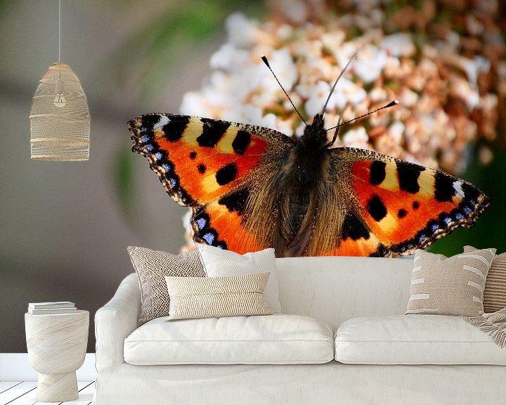 Sfeerimpressie behang: Dagpauwoog vlinder  van Edwin Teuben