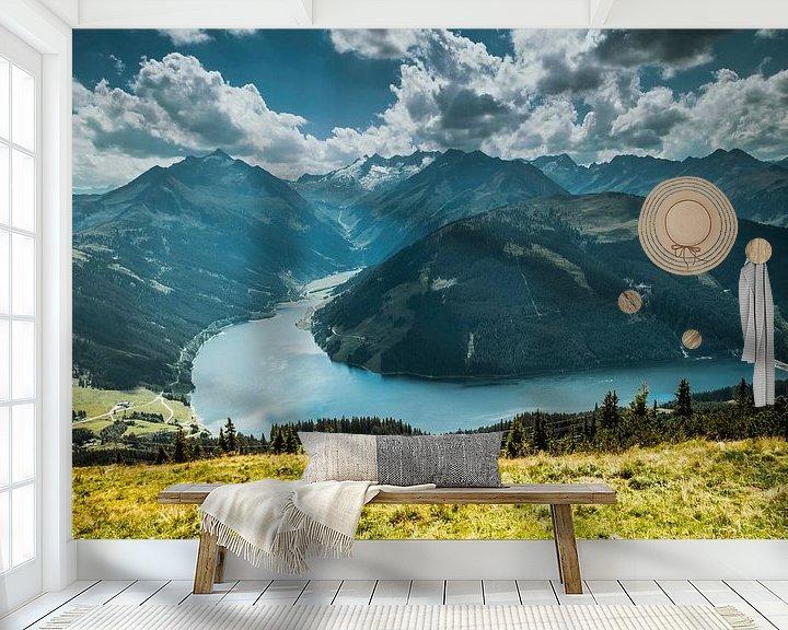 Sfeerimpressie behang: Uitzicht over bergdal van Stedom Fotografie