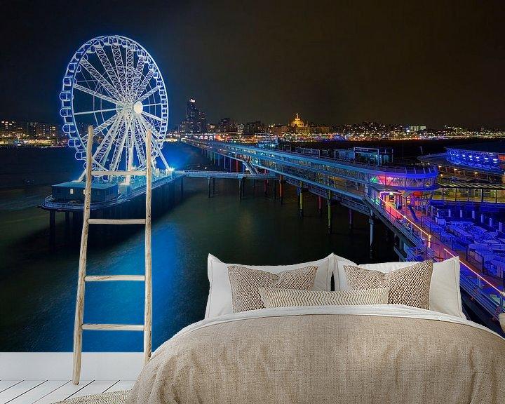 Beispiel fototapete: Scheveningen Pier mit Riesenrad in der Nacht von Anton de Zeeuw
