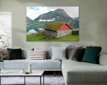 Schuur aan meer in Noorwegen. van Fred Fiets