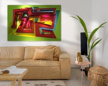 Tha Maze - Tez #1-2 von Pat Bloom - Moderne 3D, abstracte kubistische en futurisme kunst