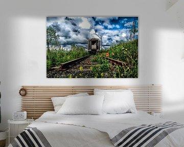 Eindstation - roest rust - oude trein - locomotief -klaproos von Sven Van Santvliet