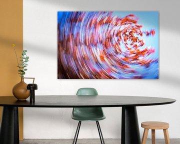 daytrails - abstracte kunst - bomen - zon - rood von Sven Van Santvliet