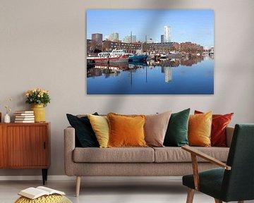 haventje in de stad Rotterdam van Martin Hulsman