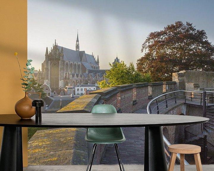 Sfeerimpressie behang: View upon Leiden van Martijn van der Nat