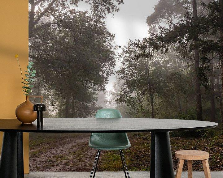 Sfeerimpressie behang: Forest Path Into The Mist van William Mevissen
