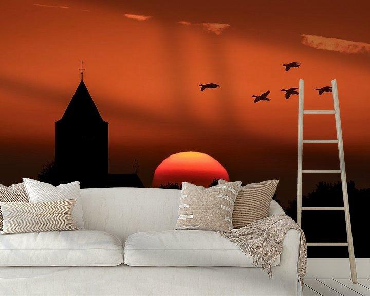 Sfeerimpressie behang: Zonsondergang bij Zalk. van Erik Veldkamp