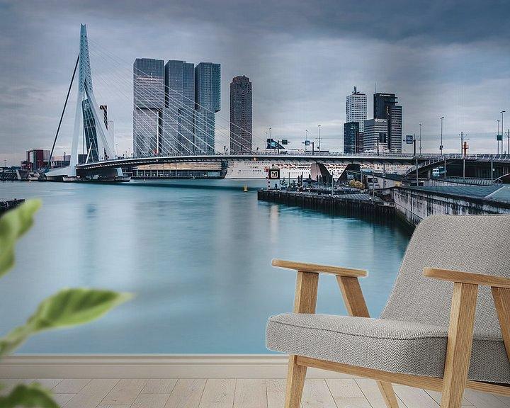 Sfeerimpressie behang: Rotterdam with Erasmusbridge van Ilya Korzelius