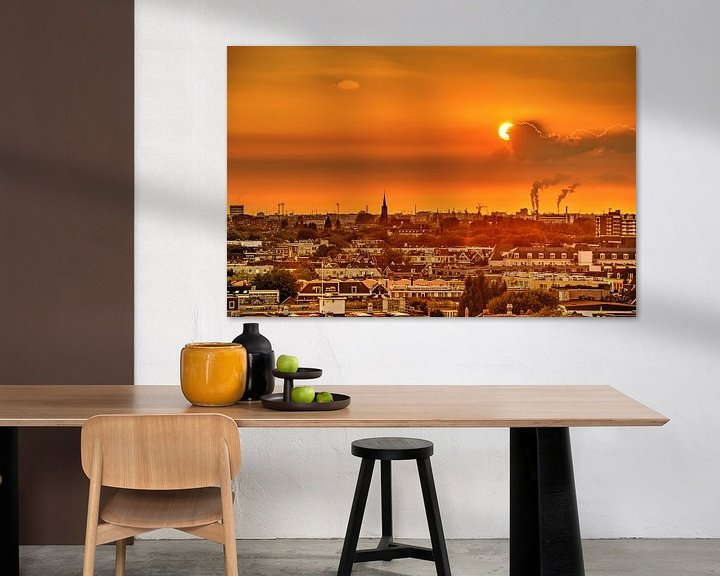 Sfeerimpressie: Zonsondergang boven het Oude Westen, Rotterdam van Frans Blok