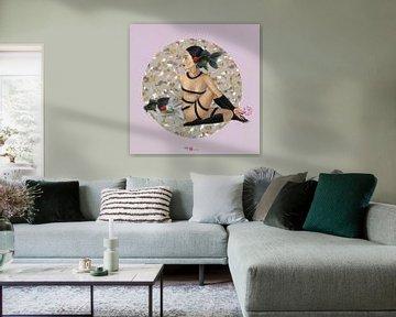Fischgöttin Rosa Hintergrund