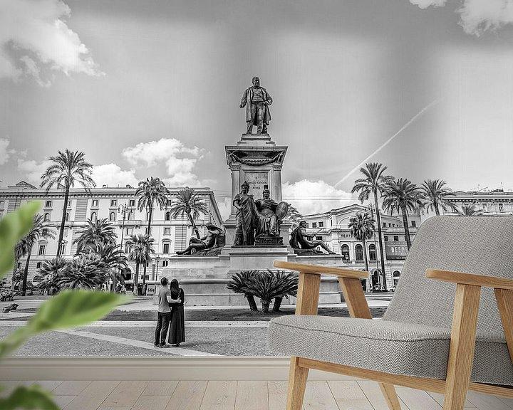 Sfeerimpressie behang: Monument van Camillo Benso di Cavour van Eus Driessen