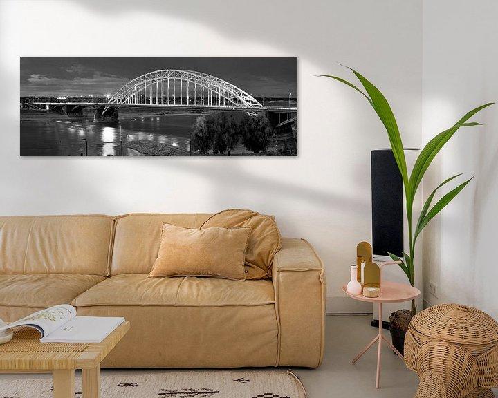 Sfeerimpressie: Panorama Waalbrug Nijmegen zwart/wit van Anton de Zeeuw