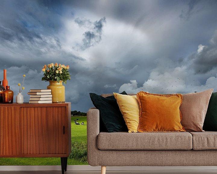 Beispiel fototapete: Ein Regensturm über Schiermonnikoog von John Verbruggen
