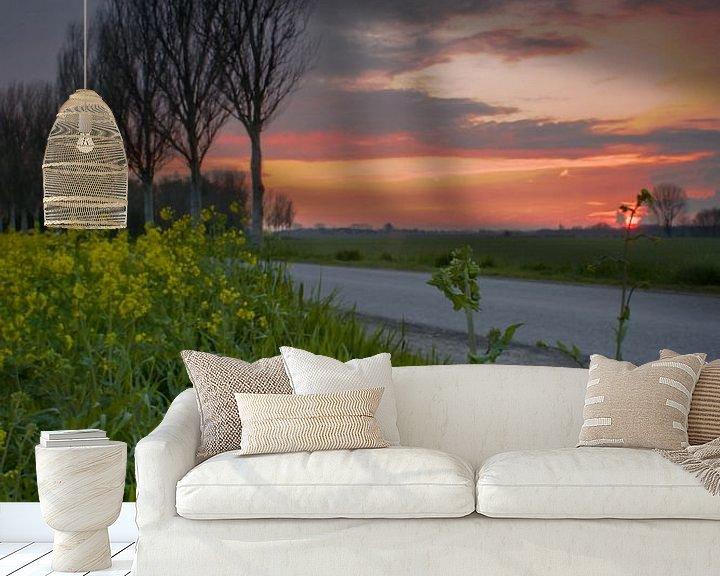 Sfeerimpressie behang: bloem onder zonsondergang van Rubin Versigny