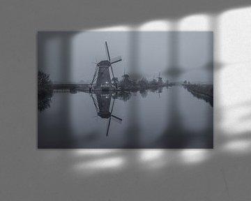 Kinderdijkse molens in zwart-wit - 2 van Tux Photography