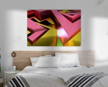 Roze en geel abstract 3D graffiti kunstwerk met vlakken van Pat Bloom - Moderne 3D, abstracte kubistische en futurisme kunst