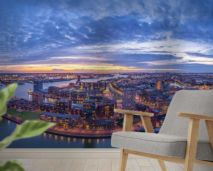 Sfeerimpressie behang: Panorama Rotterdam vanaf de Euromast van Evert Buitendijk