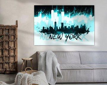 Graphic Art NYC Skyline | cyan van Melanie Viola