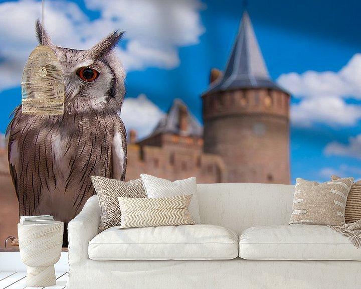 Sfeerimpressie behang: Uil bij kasteel muiderslot van Mark Verhagen