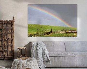 Regenboog boven de Noordzeedijk / Rainbow over the Northsea dike van Henk de Boer