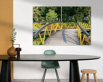 Architectuur metalen voetbrug in park van Fotografiecor .nl