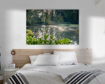 Mistige ochtend bij vijver in park van Fotografiecor .nl