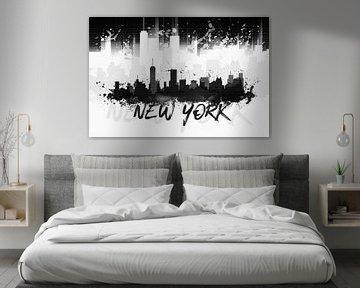 Graphic Art NYC Skyline Splashes II | black van Melanie Viola