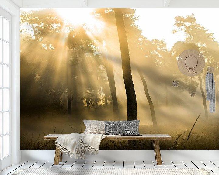 Sfeerimpressie behang: Magische zonsopkomst op de Veluwe van Harm Roseboom