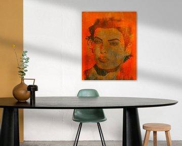 Linda Evangelista Orange Pop Art von Felix von Altersheim