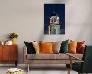 Top van de Lebuïnuskerk te Deventer verlicht