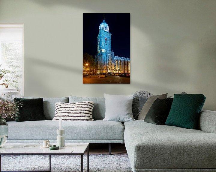 Sfeerimpressie: Lebuïnuskerk in de nacht te Deventer van Anton de Zeeuw