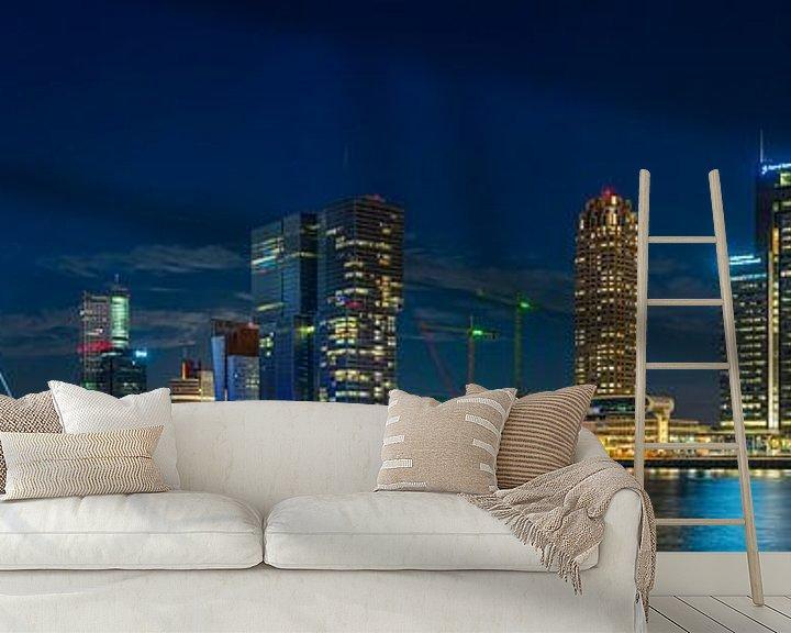 Sfeerimpressie behang: Panorama Rotterdam Wilhelminapier  van Evert Buitendijk