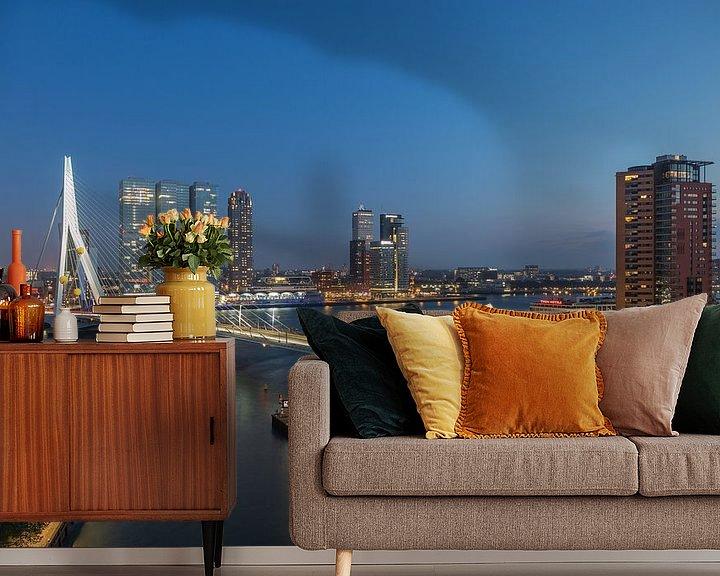 Sfeerimpressie behang: De skyline van Rotterdam van MS Fotografie | Marc van der Stelt