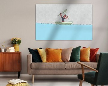 Illustratie van boze man in roeiboot von Dennis Michels