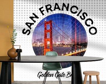 Graphic Art SAN FRANCISCO Golden Gate Bridge van Melanie Viola