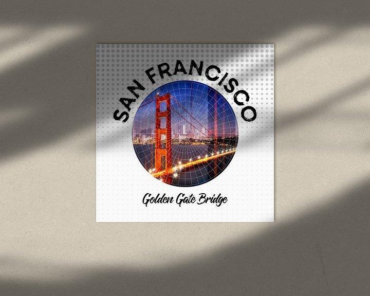 Sfeerimpressie: Graphic Art SAN FRANCISCO Golden Gate Bridge van Melanie Viola