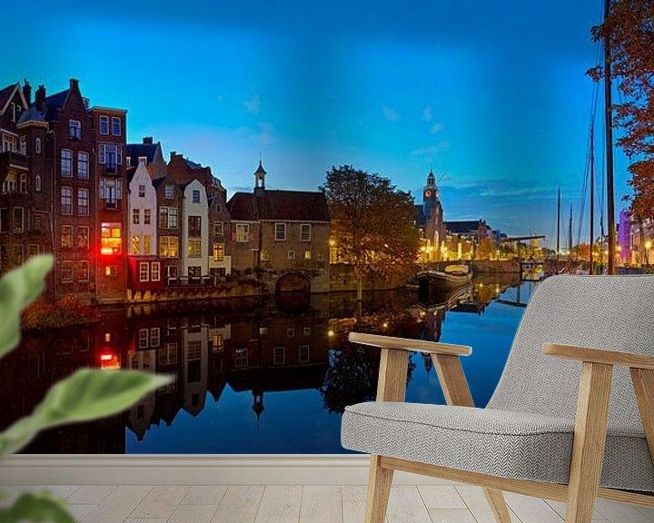 Sfeerimpressie behang: Panorama Delfshaven Rotterdam in de nacht van Anton de Zeeuw