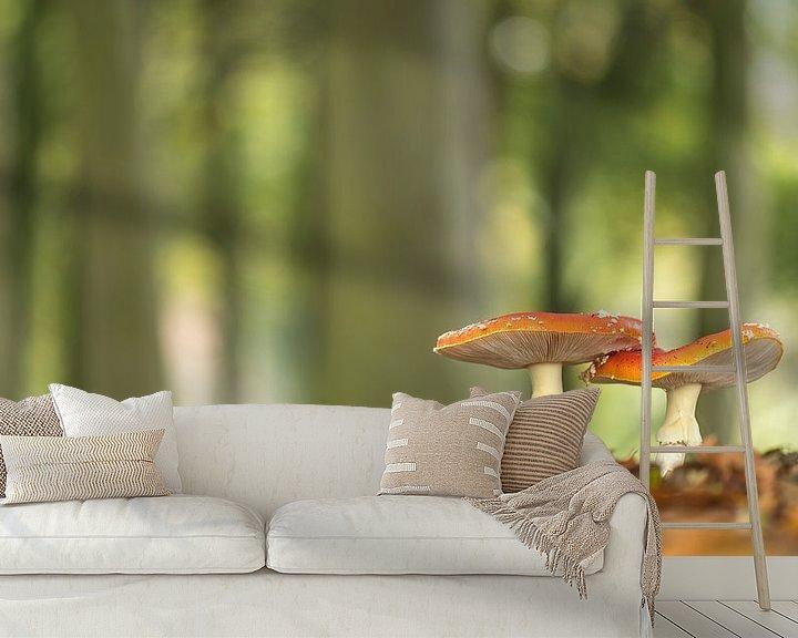 Sfeerimpressie behang: 2 Vliegenzwammen van Erik Veldkamp