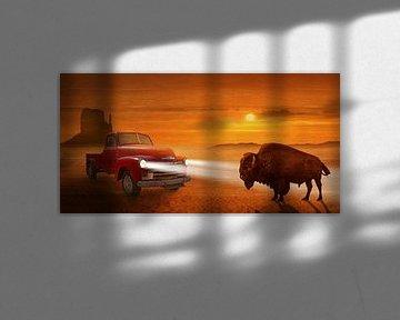 Bijeenkomst in de zonsondergang op Route 66 van Monika Jüngling