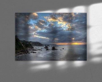 Zonsondergang aan Playa de Silencio (Asturië, Spanje) van Heidi Bol