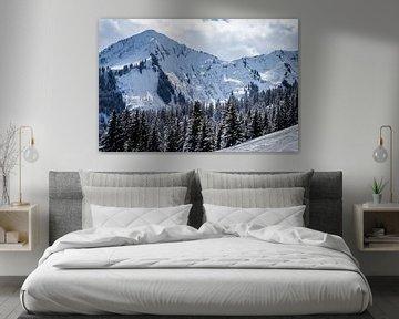 Landschap met besneeuwde bergen en naaldbomen van Dennis Kuzee