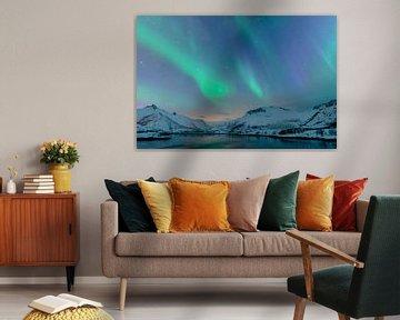 Lumières nordiques, lumière polaire ou aurore Borealis sur Sjoerd van der Wal